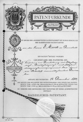 Archived document showing the initial patent for hydrastinine, which details the first evidence of MDMA
