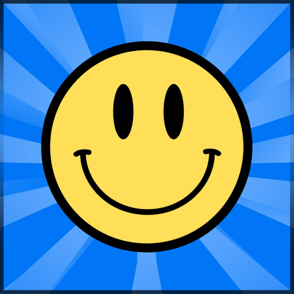 Image shows yellow smiley-face on striped blue background